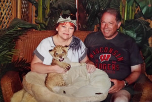 Me and my hubby with a baby lion